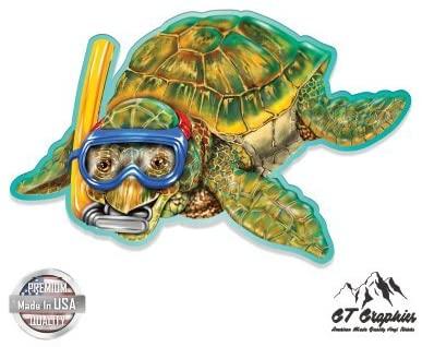 GT Graphics Sea Turtle Snorkeling Cute - Vinyl Sticker Waterproof Decal