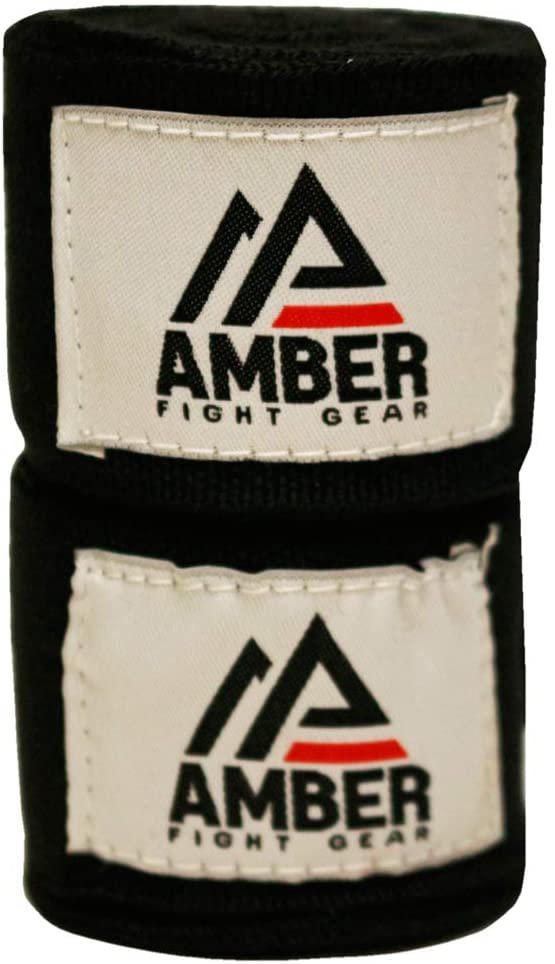 "Amber Fight Gear Semi Elastic Professional 200"" Hand Wraps with Hook and Loop Closure for Boxing Kickboxing Muay Thai MMA for Men and Women – 1Pair"