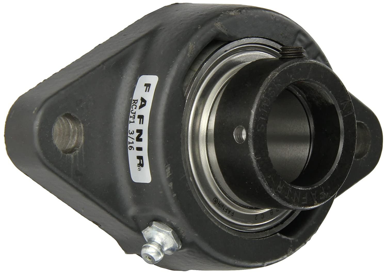 Timken RCJT1 3/16 Flange Unit, 2 Bolt Holes, Industrial-Duty, Relubricatable, Non-Expansion, Cast Iron, Eccentric Locking Collar, Inch, 1-3/16