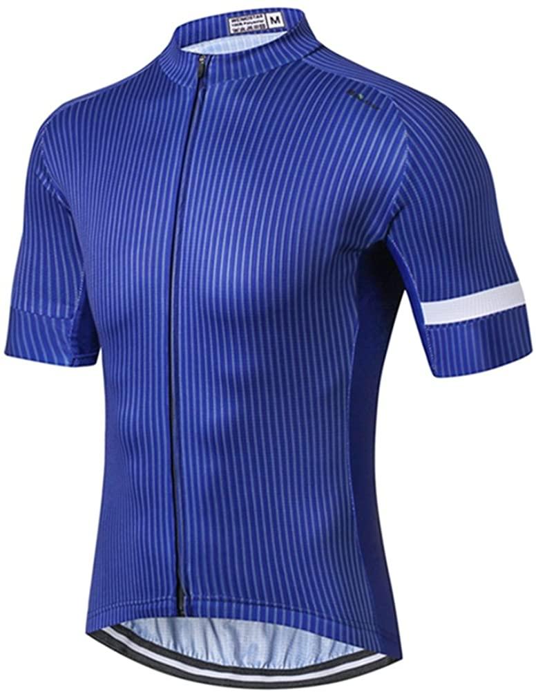 Men's Pro Team Cycling Jersey Short Sleeve Bike Shirt Sportswear with Pokects Blue Size XL