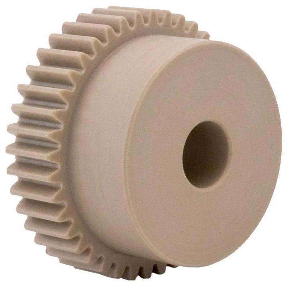 NM1B15 Ametric® Metric Minimum Plain Bore Nylon Spur Gear with Hub, 1 Metric Module Tooth Profile, 15 Teeth, 20 Degree Pressure Angle, 17 mm Outside Diameter, 12 mm Hub Diameter, 5 +/-1mm Pilot Bore, 8 mm Tooth Face Width, (Mfg Code 1-025)