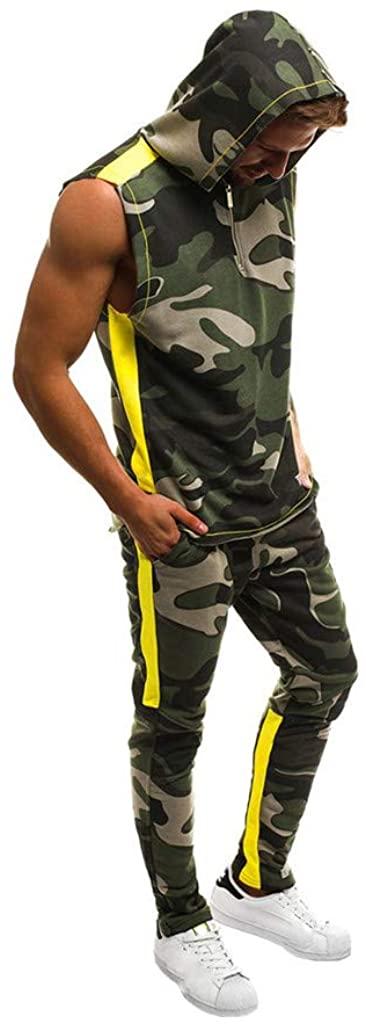 Men's Camo Tracksuit Set Camouflage 1/2 Zipper Sleeveless Hoodie Jogger Sweatpants Sports Suit