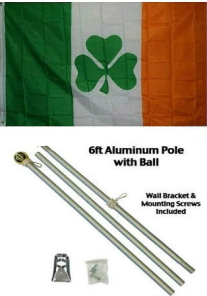 AES 2x3 2'x3' Irish Shamrock Ireland Flag Aluminum Pole Kit Gold Ball Top
