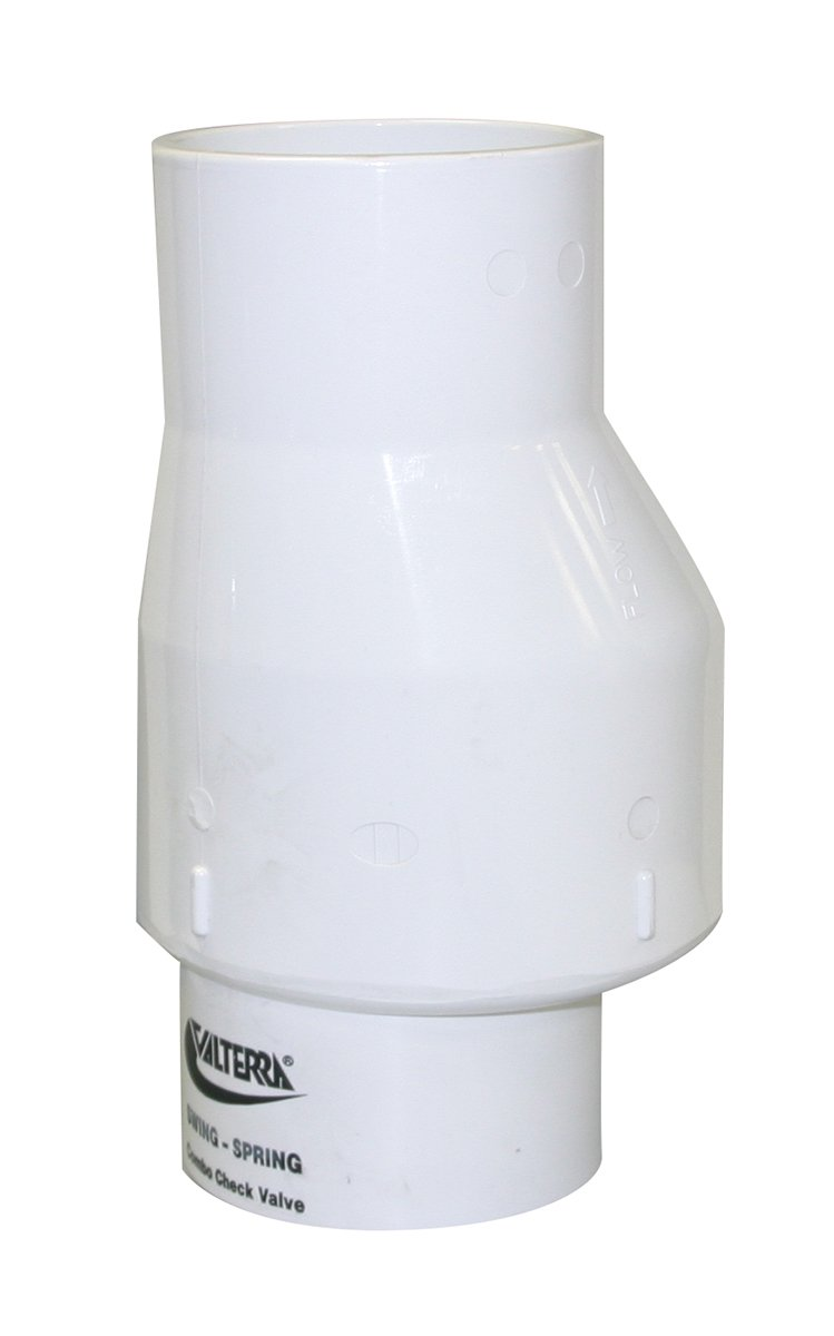 Valterra 200-30 PVC Swing/Spring Combination Check Valve, White, 3