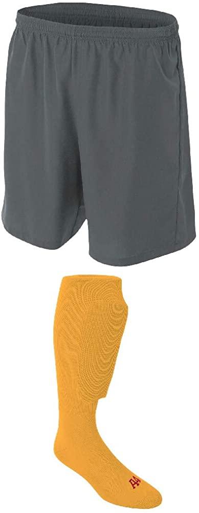 A4 Sportswear Graphite Adult Medium Soccer Shorts, Gold Socks