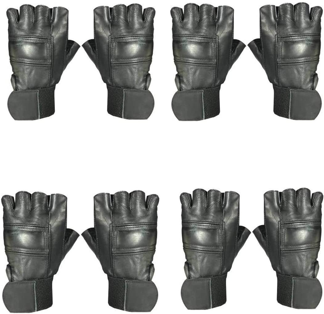 Snipper Full Leather Gym Gloves for Weightlifting, Crossfit, Fitness & Other Sports with Wrist wrap Support for Men&Women (Pack of 4) (Black)