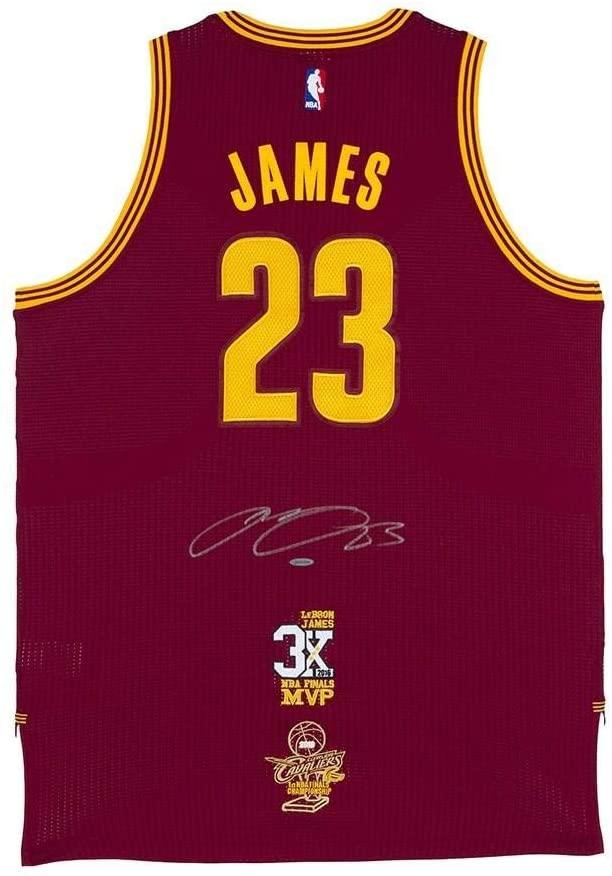 Autographed LeBron James Jersey - Adidas Wine 3x Finals MVP Logo & 2016 Finals Championship Logo - Upper Deck Certified
