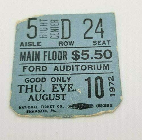 EAGLES CONCERT TICKET - FORD AUDITORIUM DETROIT - 1972 - VERY EARLY TOURING RARE