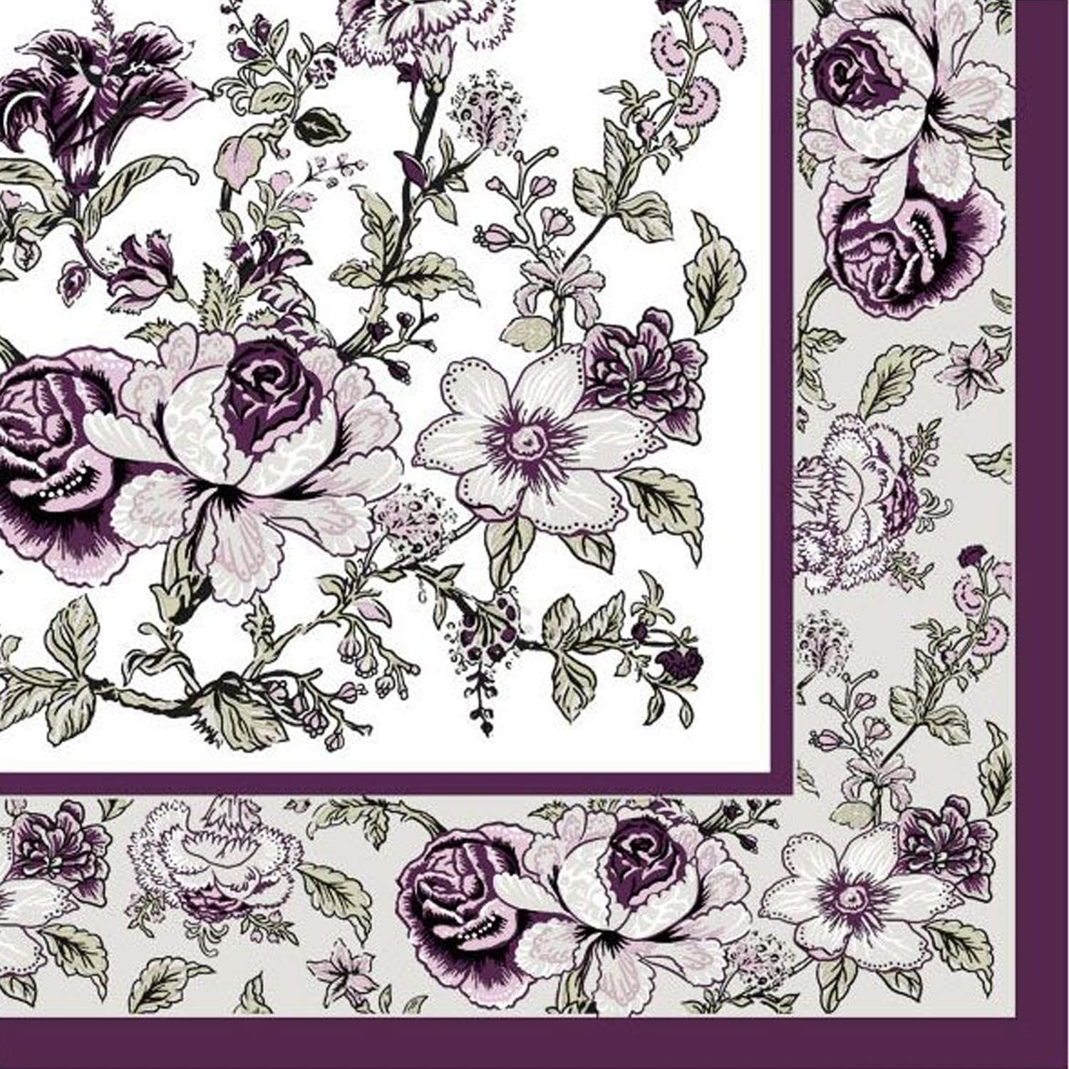 Disposable Paper Eggplant Bountiful Blossoms Lunch Napkins, Wedding, Bridal Shower, Birthday Party, Decoration Supplies, Holidays, Folded Size 6.5 x 6.5 Inches, 2-Ply, 20 ct