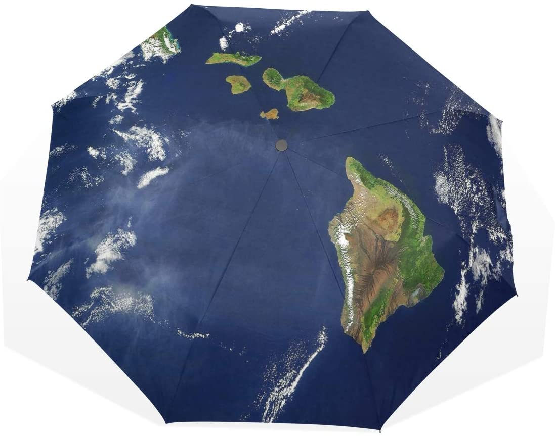 Umbrella Satellite Image of The Hawaiian Islands Travel Golf Sun Rain Windproof Umbrellas with UV Protection for Kids Girls Boys