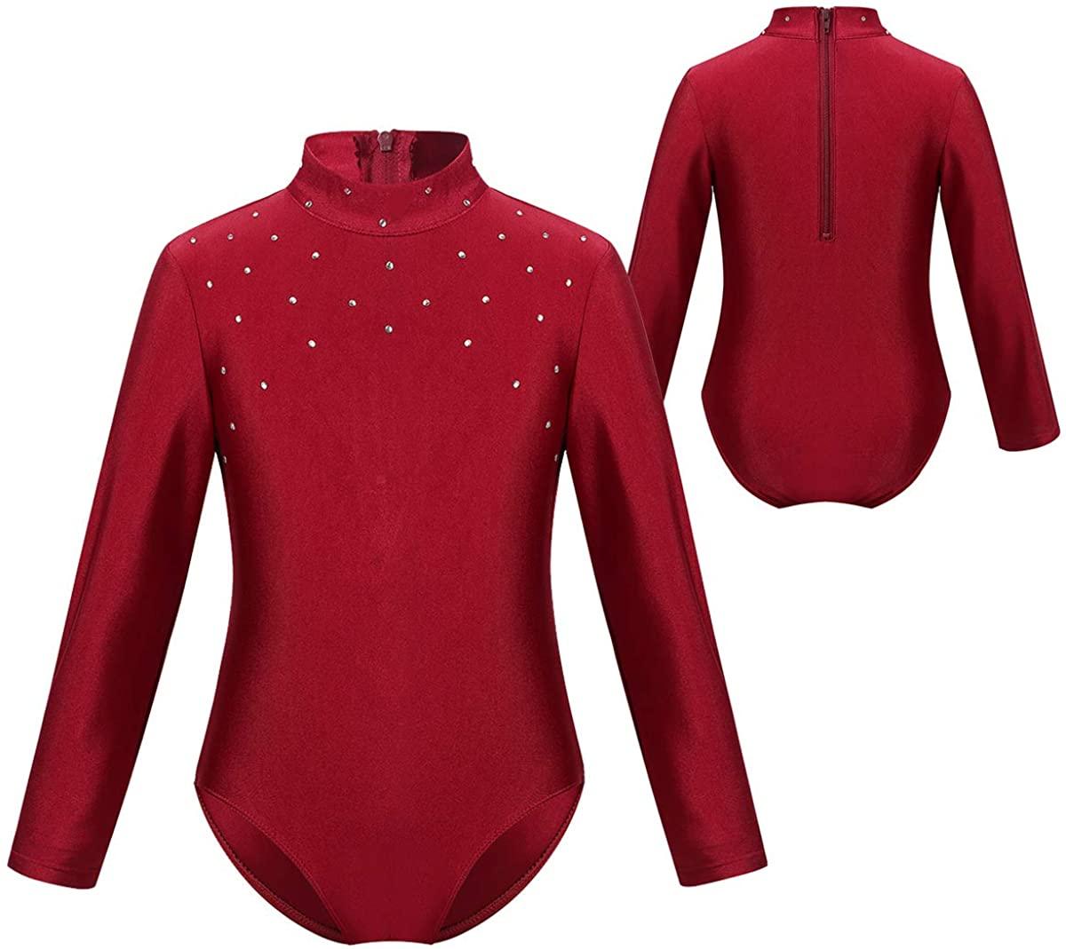CHICTRY Big Girls' Lightweight Turtleneck Spandex Long Sleeve Leotard Gymnastics Sports Bodysuit with Rhinestones