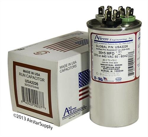 Goodman CAP050300440RSP Replacement - 30 + 5 uf/Mfd 370/440 VAC AmRad Round Dual Universal Capacitor, Made in The U.S.A.