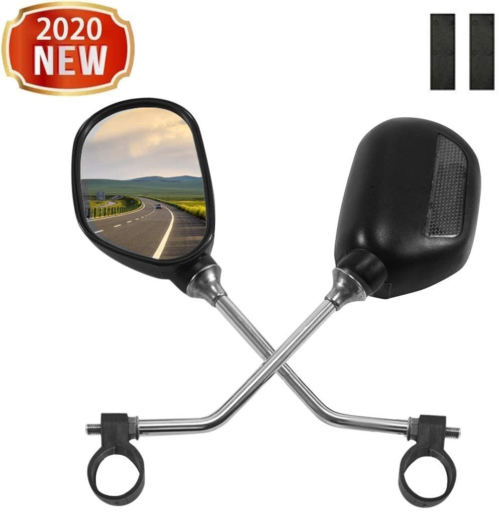 Bicycle Rearview Mirrors - Handlebar Mount Adjustable Rotatable Bicycle Rear View Glass Mirror - 360° Wide Angle Acrylic Convex Safety Mirror for Mountain Road Bike, Easy Install, Cyclists Safety
