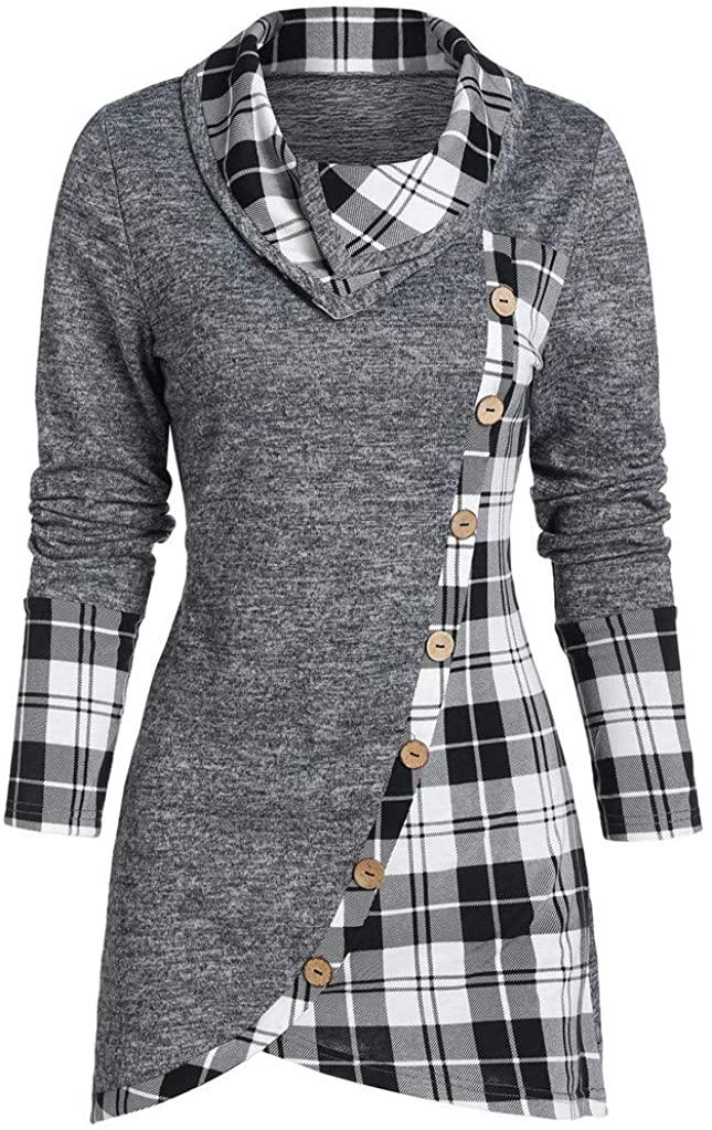 Women's Tunic T Shirts Plaid Long Sleeves Asymmetrical Tartan Panel Cowl Neck Sweatshirt Tops Gray