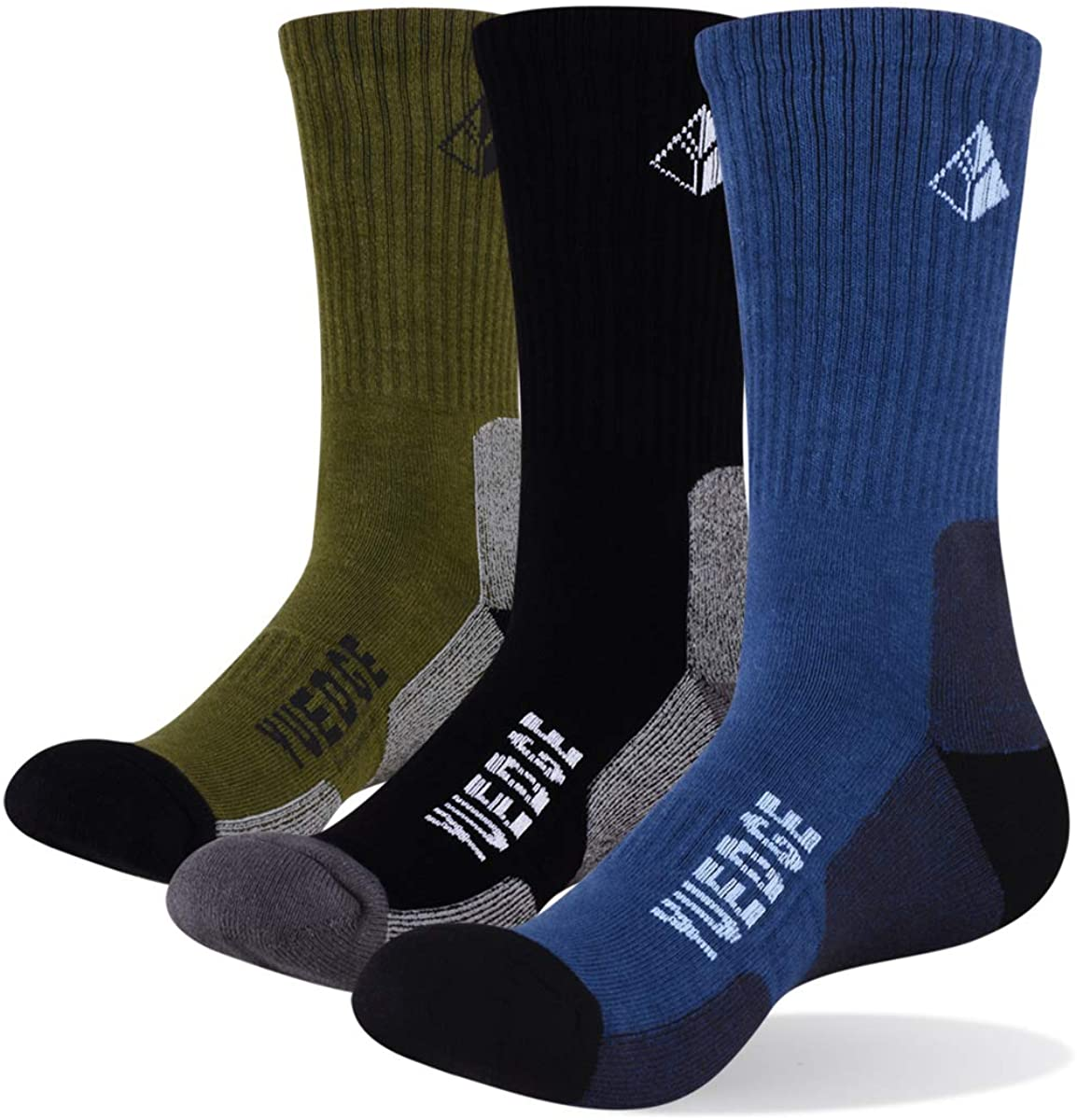 YUEDGE Men's Athletic Sports Socks Cotton Moisture Wicking Cushion Crew Socks(3 Pairs Pack of X-Large)