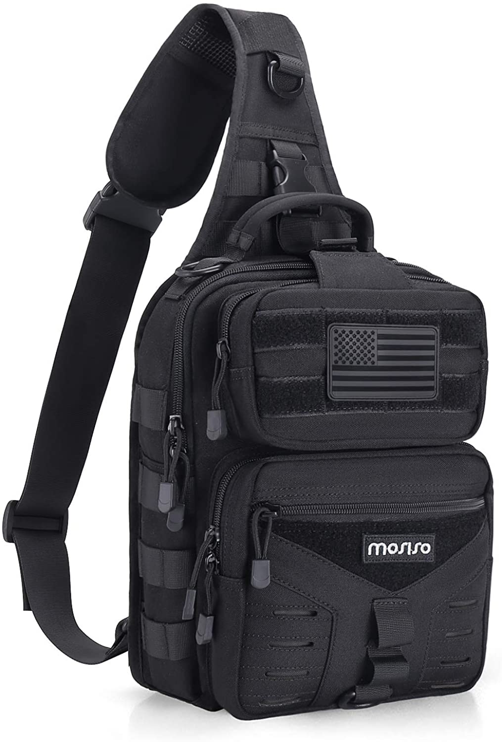 MOSISO Tactical Backpack, One Shoulder Slingbag Military Army Assault Molle Rucksack Everyday Carrying Daypack with USA Flag Patch for Outdoor Sports Hiking Hunting Fishing Camping Training, Black