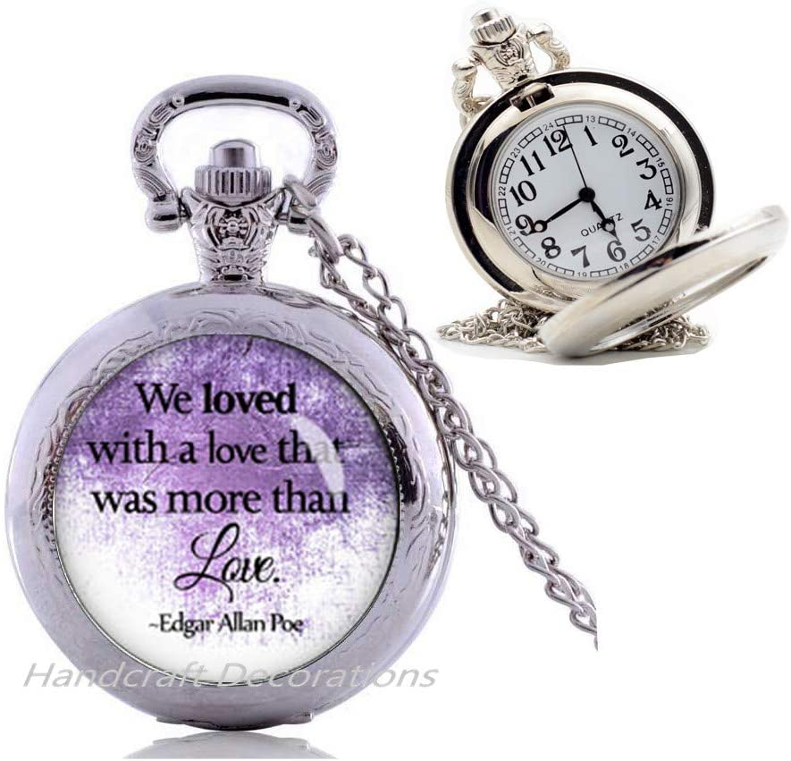 We loved with a love that was more than love Pocket Watch Necklace for friend Pocket Watch Necklace poe jewelry for her Literary Pendant-Romantic Pendant Pocket Watch Necklace.F189
