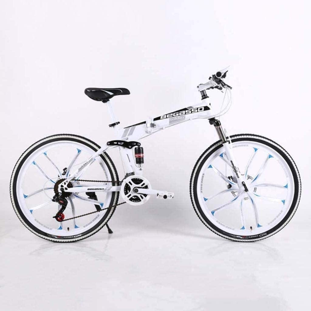 CSS Folding Bike,Mountain Bicycle,Hard Tail Bike,26In17In/24In17In Bike,21 Speed Bicycle,Full Suspension MTB Bikes 6-11,White,24 inches