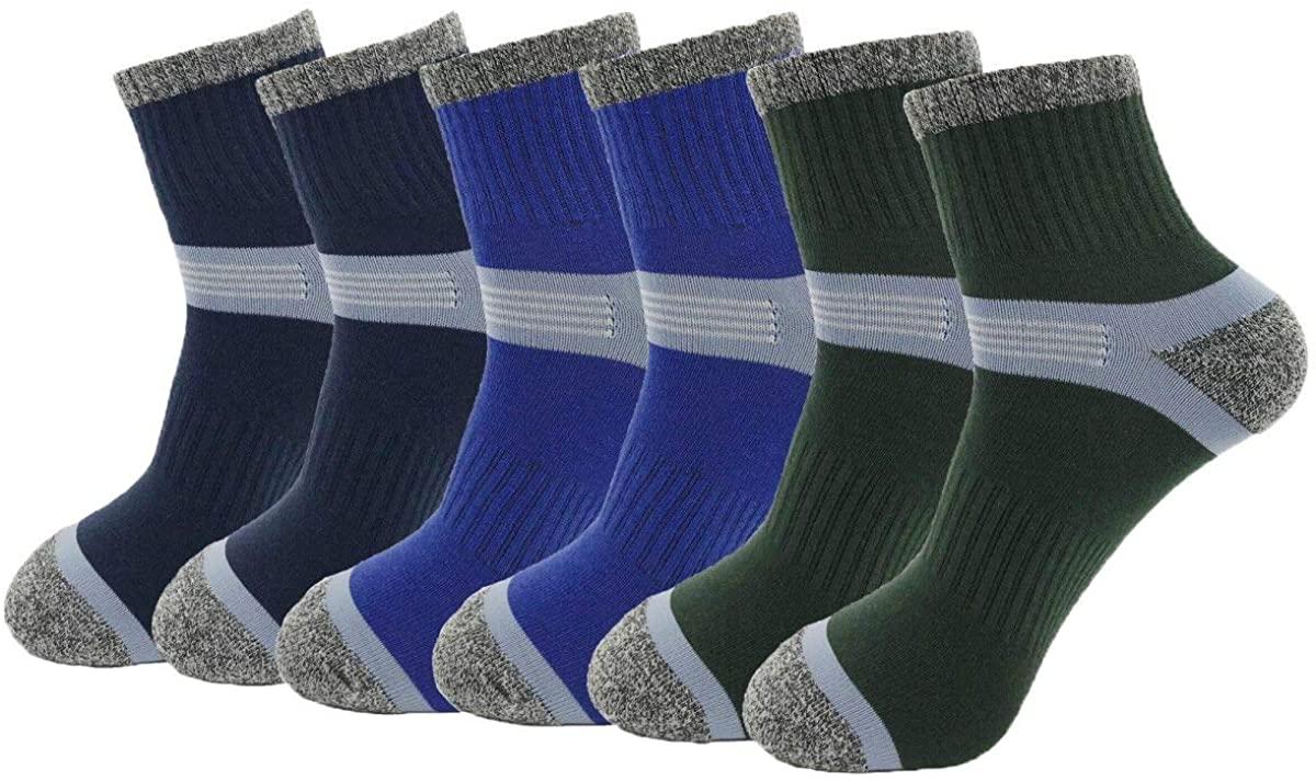 HaloYIYI 6 Pack Mens Cycling Socks Ankle Athletic Low Cut Socks Sports Bike Running Hiking Gym Training Socks,10-13