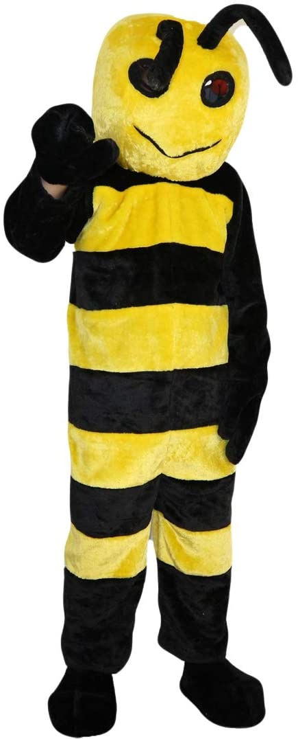 Yellow bee Mascot Costume Cartoon Character Adult Sz Real Picture