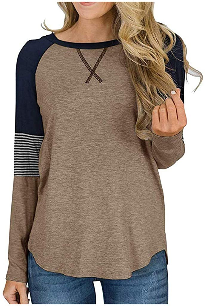 nightfall Women's Striped Color Block Crew Neck Long Tunic Top Casual Patchwork Loose Long Sleeve T-Shirt