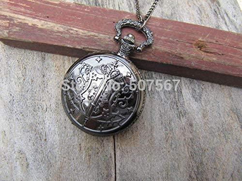Vintage Gun Filigree Double Patterns Kuroshitsuji Black Badges Round Pocket Watch Locket Pendants Necklaces