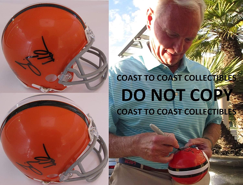 Jim Haslam Cleveland Browns signed autographed mini football helmet,exact proof COA