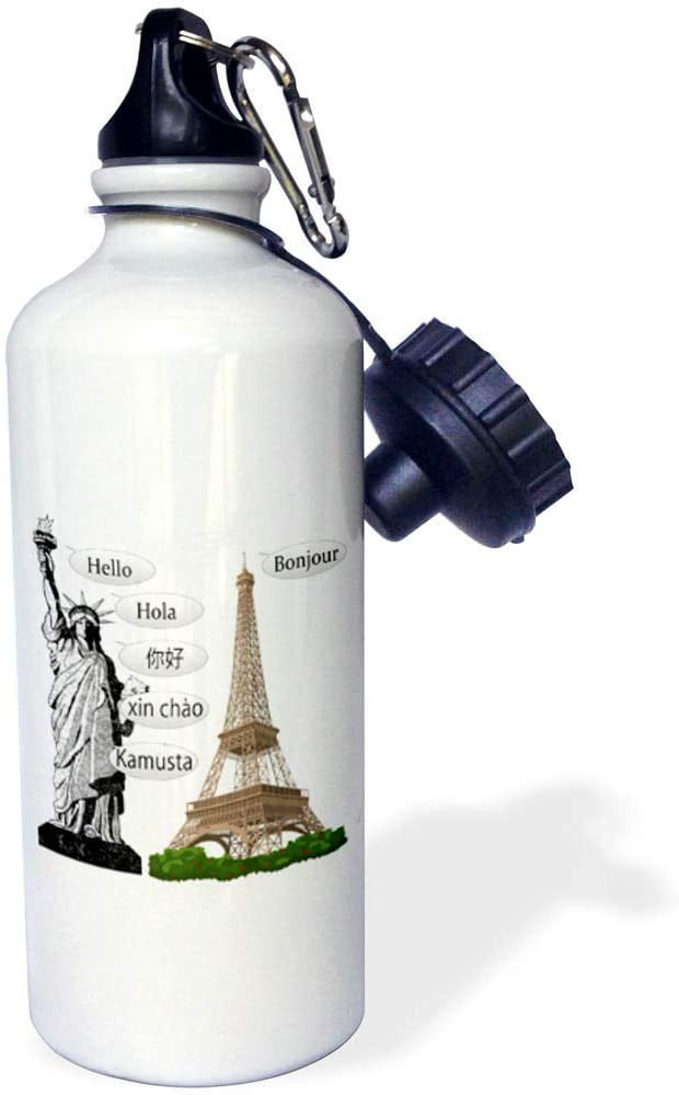 3dRose Macdonald Creative Studios – Patriotic - The Statue of Libery says Hello in Several Immigrant Languages. - 21 oz Sports Water Bottle (wb_323218_1)