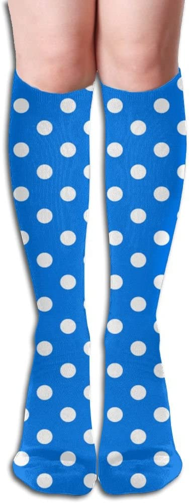 KLQ White And Blue Dots Knee High Crew Socks Knee High Stockings For Indoor And Outdoor Sports