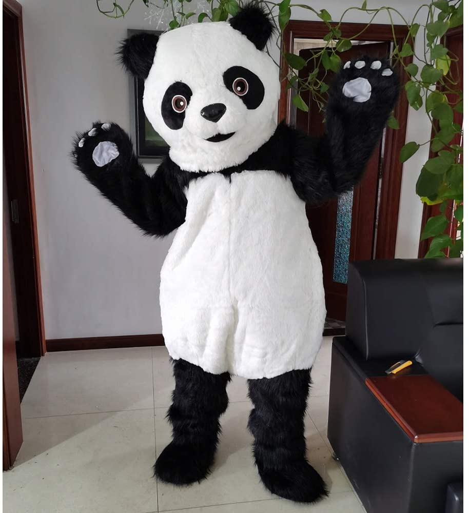 Giant Panda Long Hair Cartoon Costume Mascot Plush with Mask for Adult Cosplay Party Halloween Dress Up