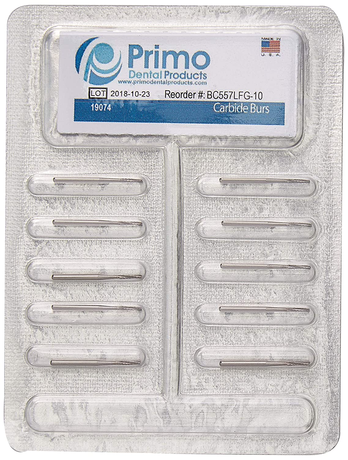 Primo Dental Products BC557LFG10 Carbide Burs, 557 Long FG (Pack of 10)