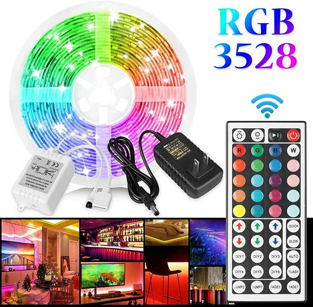 Jonerytime_16FT Flexible Strip Light 3528 RGB LED SMD Remote Lights Room TV Party Bar White
