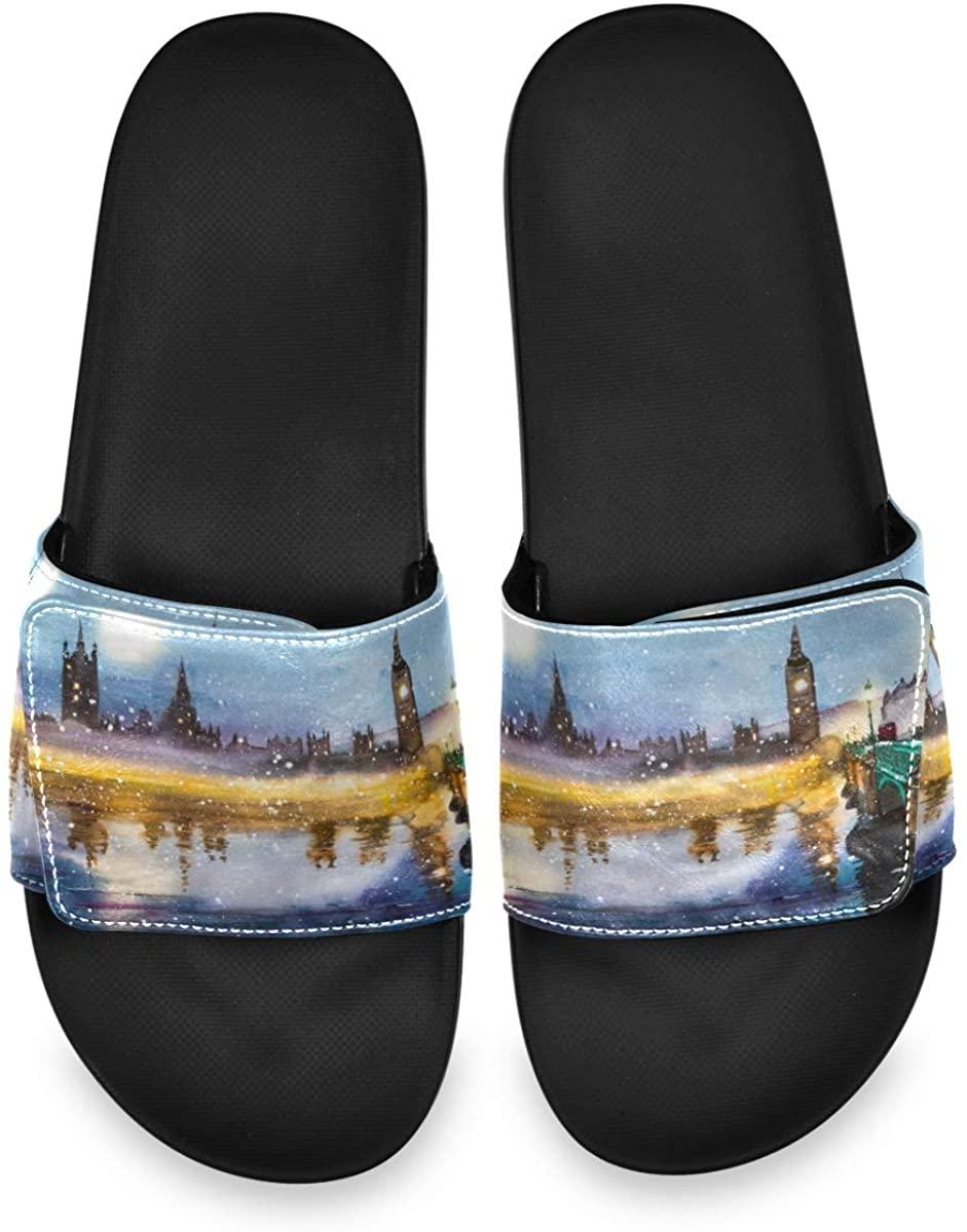 All agree Westminster Abbey Bridge at Dusk Landscape Mens House Indoor Outdoor Bedroom Slippers Adjustable Slide Sandals