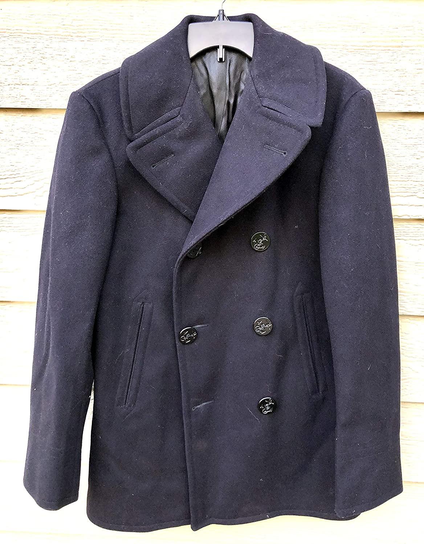 Vintage 1968 US Navy USN Overcoat Man's Enlisted Wool Kersey 100% Peacoat - 34