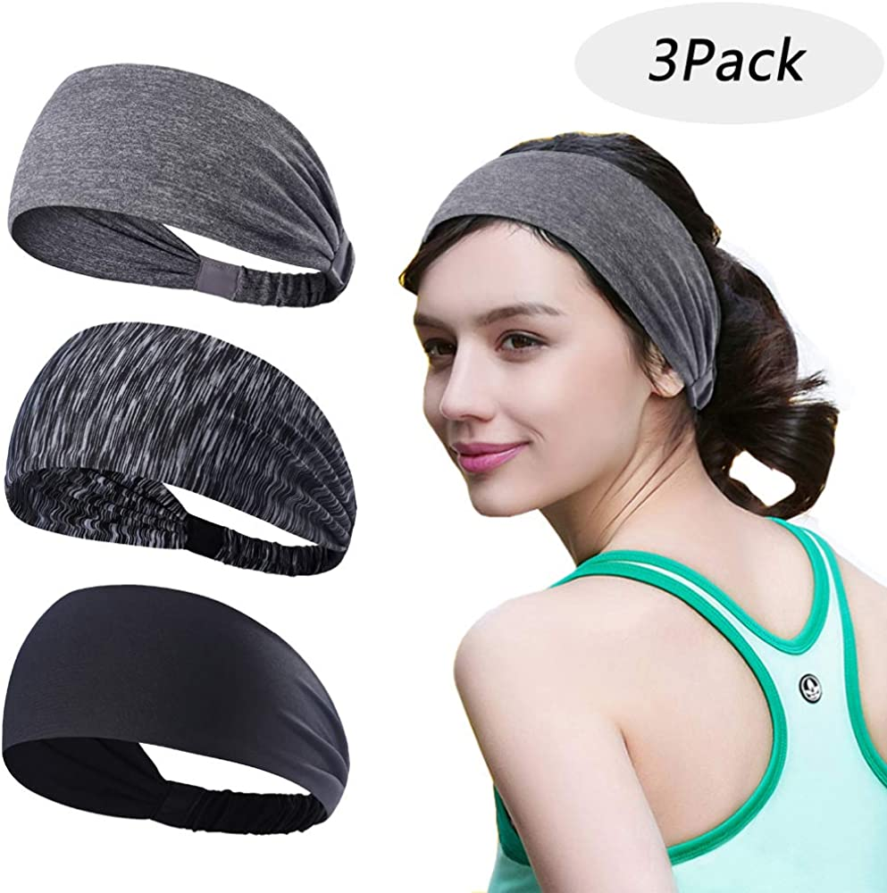 Accgz Workout Headband for Women, Yoga Sport Headbands Absorbing Sweat Hair Bands for Yoga Fitness Sports Running, Elastic, Fits All Head Sizes
