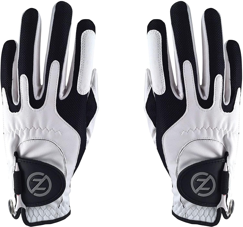 Zero Friction Men's Performance Golf Glove Pair, White, Universal-Fit