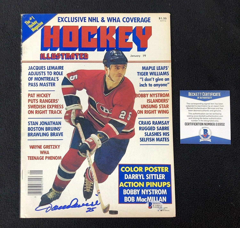 Jacques Lemaire Signed Canadiens Hockey Illustrated Magazine Beckett COA - Autographed NHL Magazines