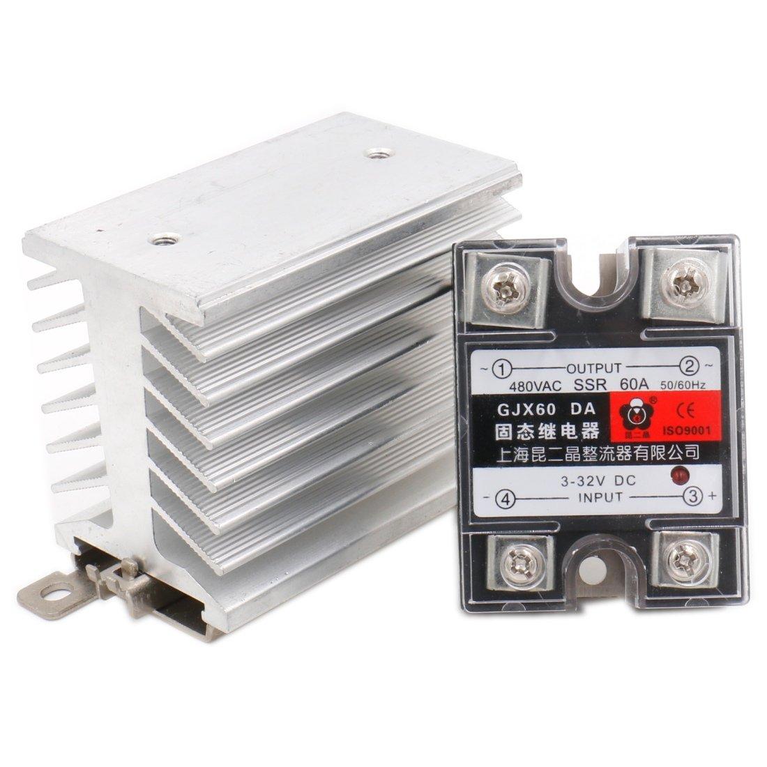 Baomain SSR-60DA 60A Solid State Relay Module 3-32VDC / 24-480VAC + Heat Sink