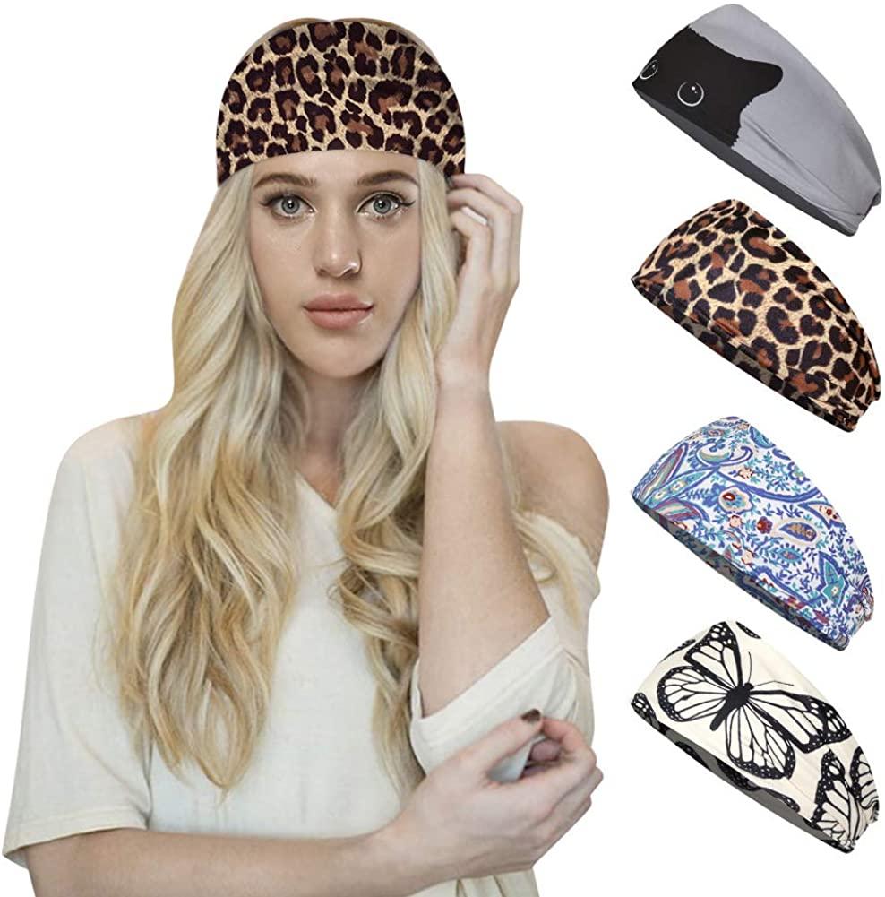 Panegy Women Sweat Absorbing Workout Headband Elastic Non Slip Wide Hair Band Headwrap for Yoga Running 4 Pcs
