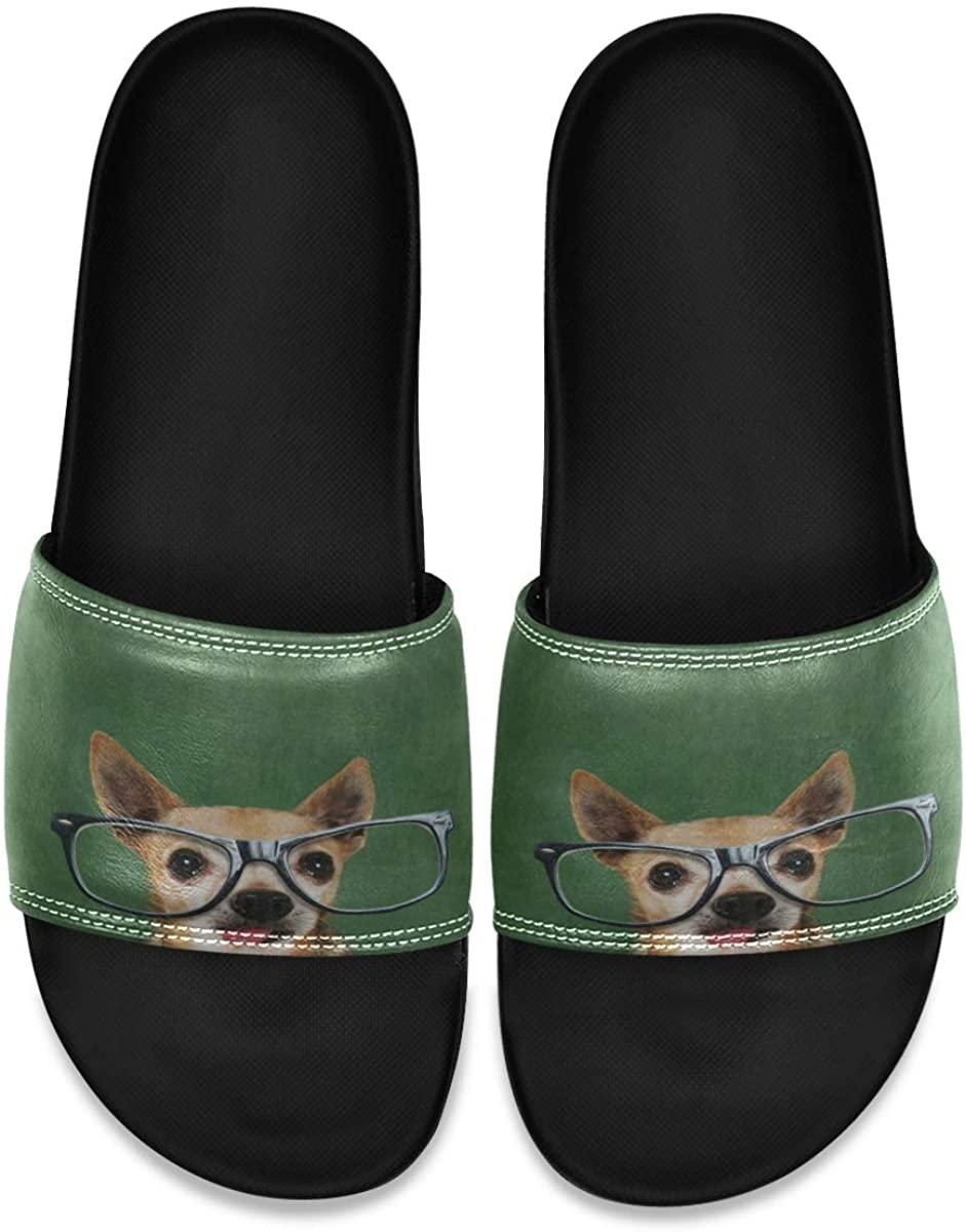 Ladninag Hipster Dog Men's Leather Slide Sandals Summer House Slippers Open Toe Boys