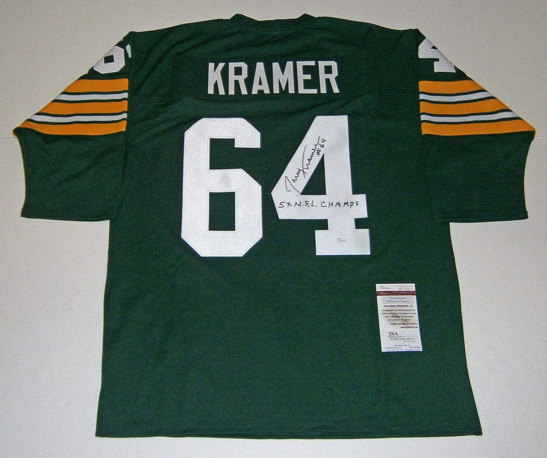 Jerry Kramer Signed Jersey - w 5X Champs COA - JSA Certified - Autographed NFL Jerseys