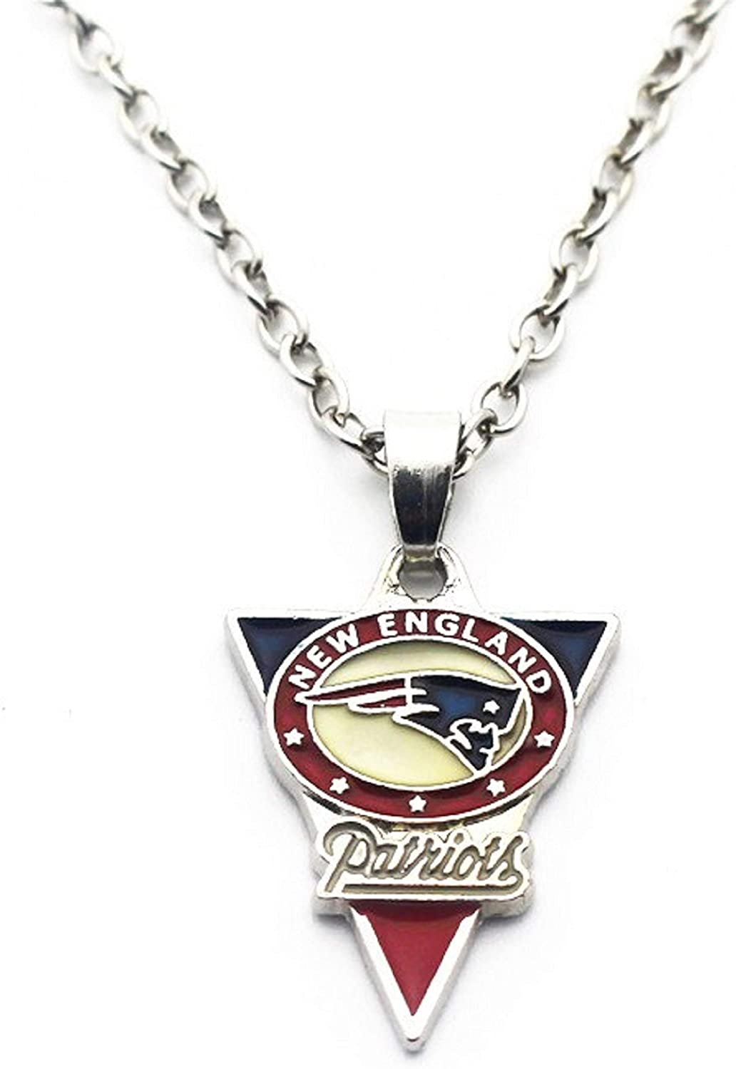 BAS New England Patriots Necklace with Triangle Pendant with 20 inch Stainless Steel Chain Necklace
