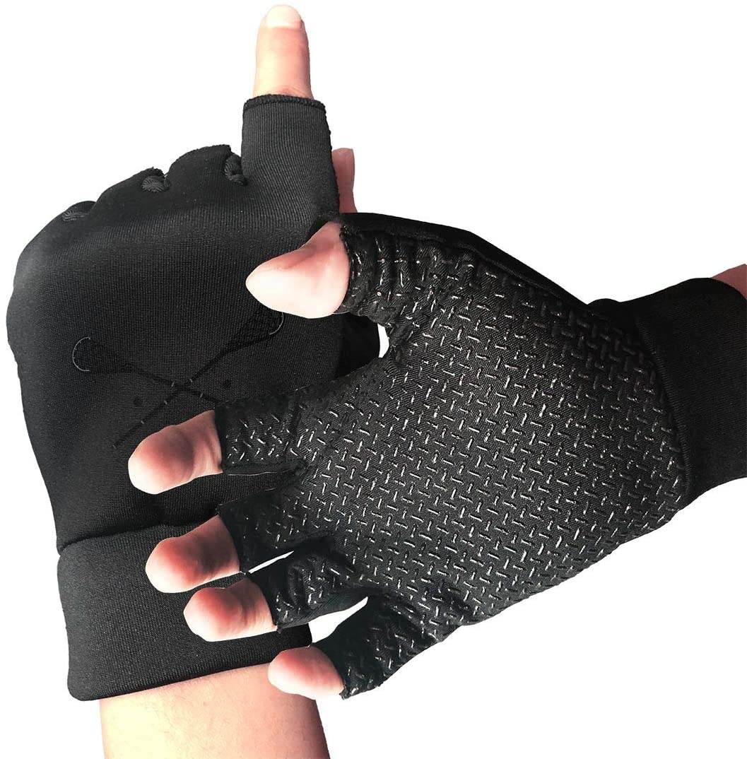 SUMT4men Lacrosse Crossed Sticks Logo Unisex Gym Training Gloves Sport Gloves for Wrist and Palm Protection Perfect for Weight Lifting, Powerlifting, Pull Ups, Cross Training
