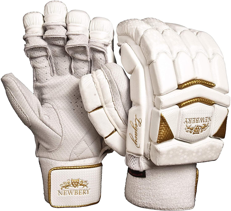 Newbery Cricket Unisex-Youth Legacy Batting Gloves, White/Gold, Junior