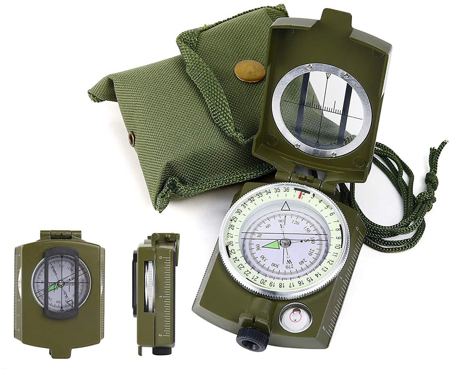 Sohapy Compass Military Sighting Compass Heavy Duties Camping Survival Compass with in Clinometer and Carry Bag for Camping Hiking Pole Boating Backpacking Geography Army Green