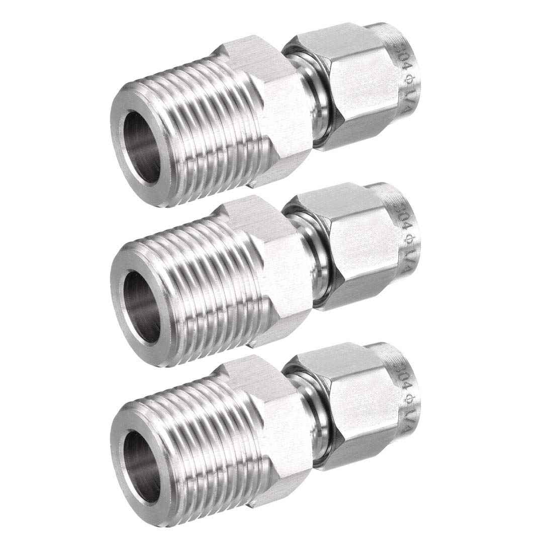 uxcell Stainless Steel Compression Tube Fitting 3/8-inch NPT Male x Ф1/4-inch Tube OD 3pcs