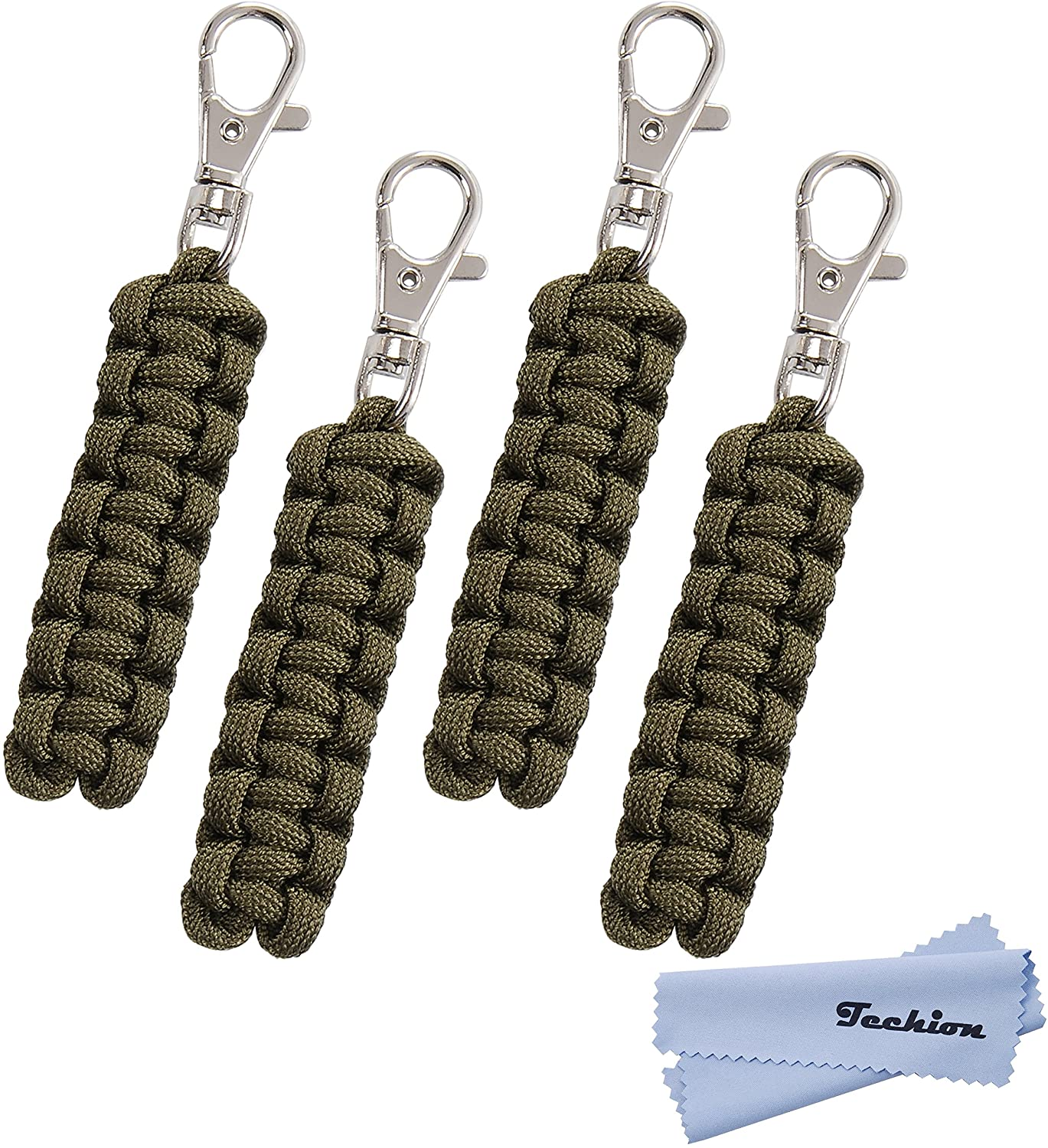 Techion 4 Pack Paracord Zipper Pulls for Backpacks, Tents, Trolley Cases, Traveling Cases, Jackets and Many Other Items That with Zippers