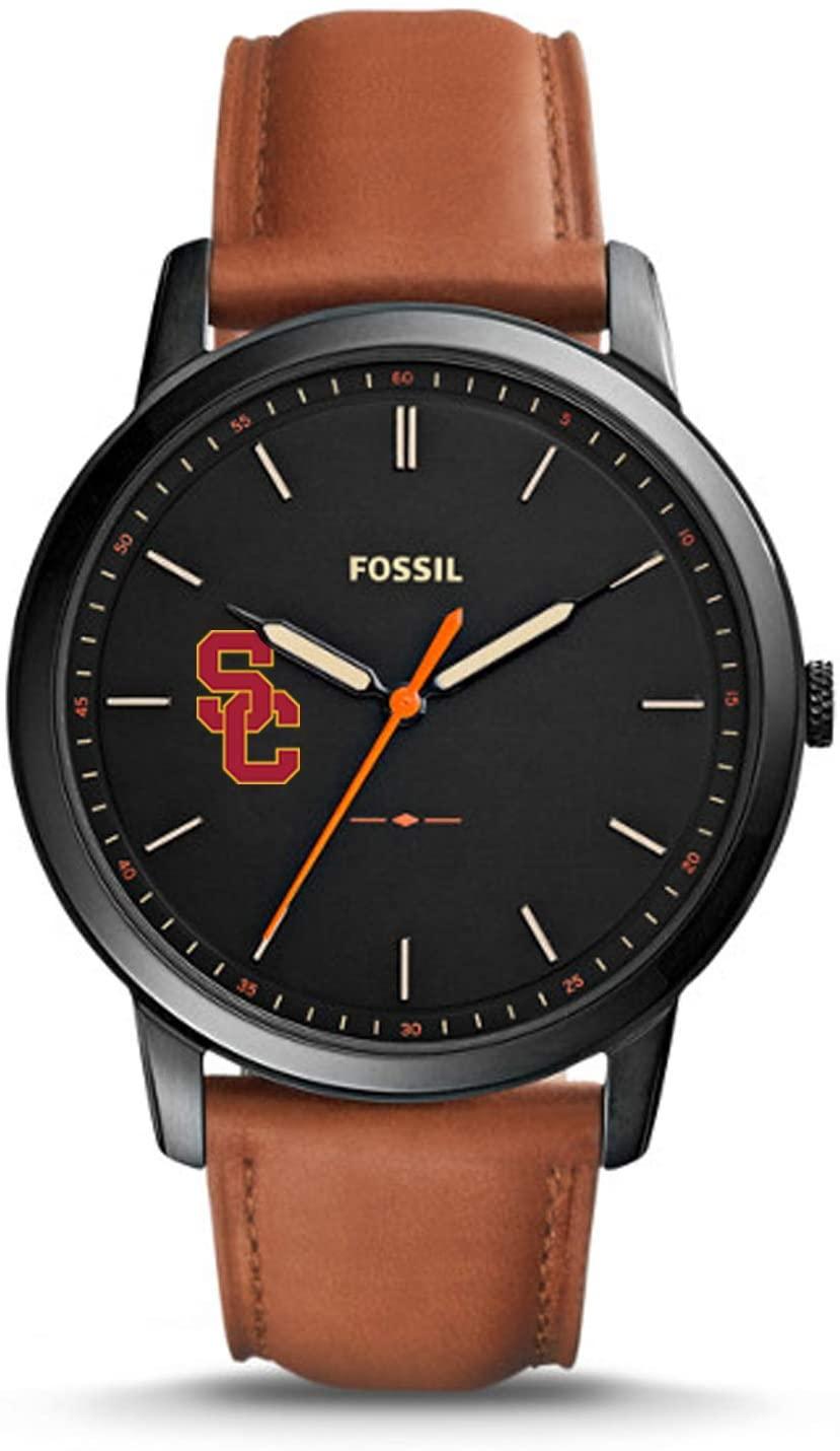 Fossil NCAA USC Trojans Mens The Minimalist Slim Three-Hand Watch, Light Brown, One Size