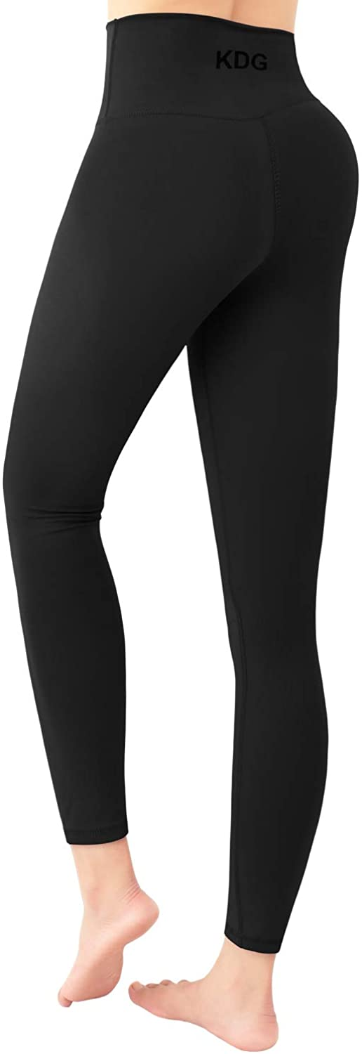 KDG Yoga Pants Leggings for Women - Tummy Control, High Waisted Squat-Proof Workout Pants Black