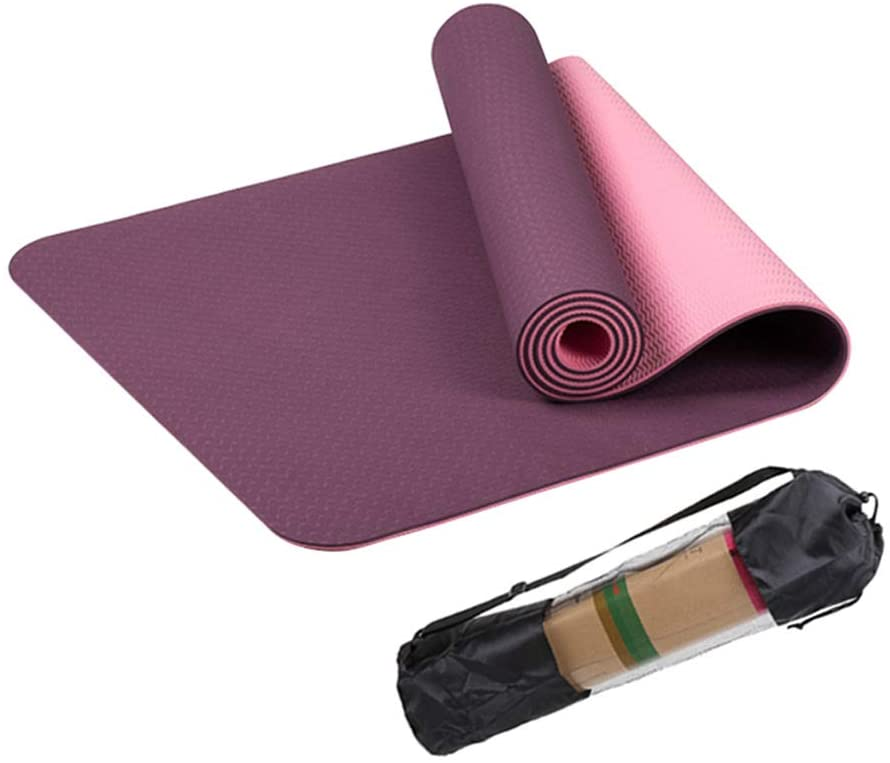 Yoga Mat Exercise,Fitness Foam Mat Pilates Stretching Workout Mats for Home Gym Flooring, Extra Thick Non Slip Eco Friendly Yoga Mat with Carry Strap